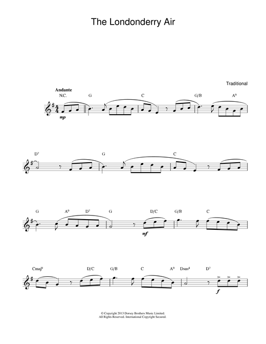 Download Irish Folksong 'Danny Boy (Londonderry Air)' Digital Sheet Music Notes & Chords and start playing in minutes