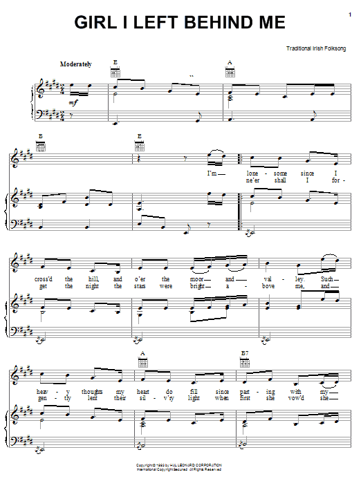 Irish Folksong Girl I Left Behind Me sheet music preview music notes and score for Piano, Vocal & Guitar (Right-Hand Melody) including 2 page(s)