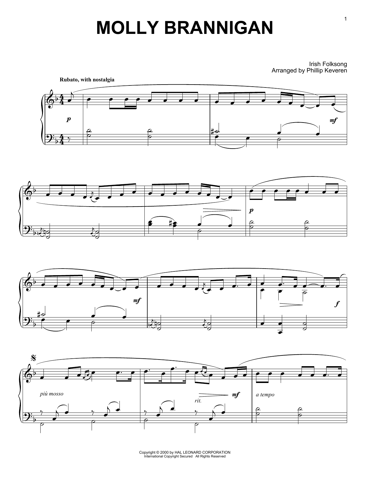 Download Irish Folksong 'Molly Brannigan (arr. Phillip Keveren)' Digital Sheet Music Notes & Chords and start playing in minutes
