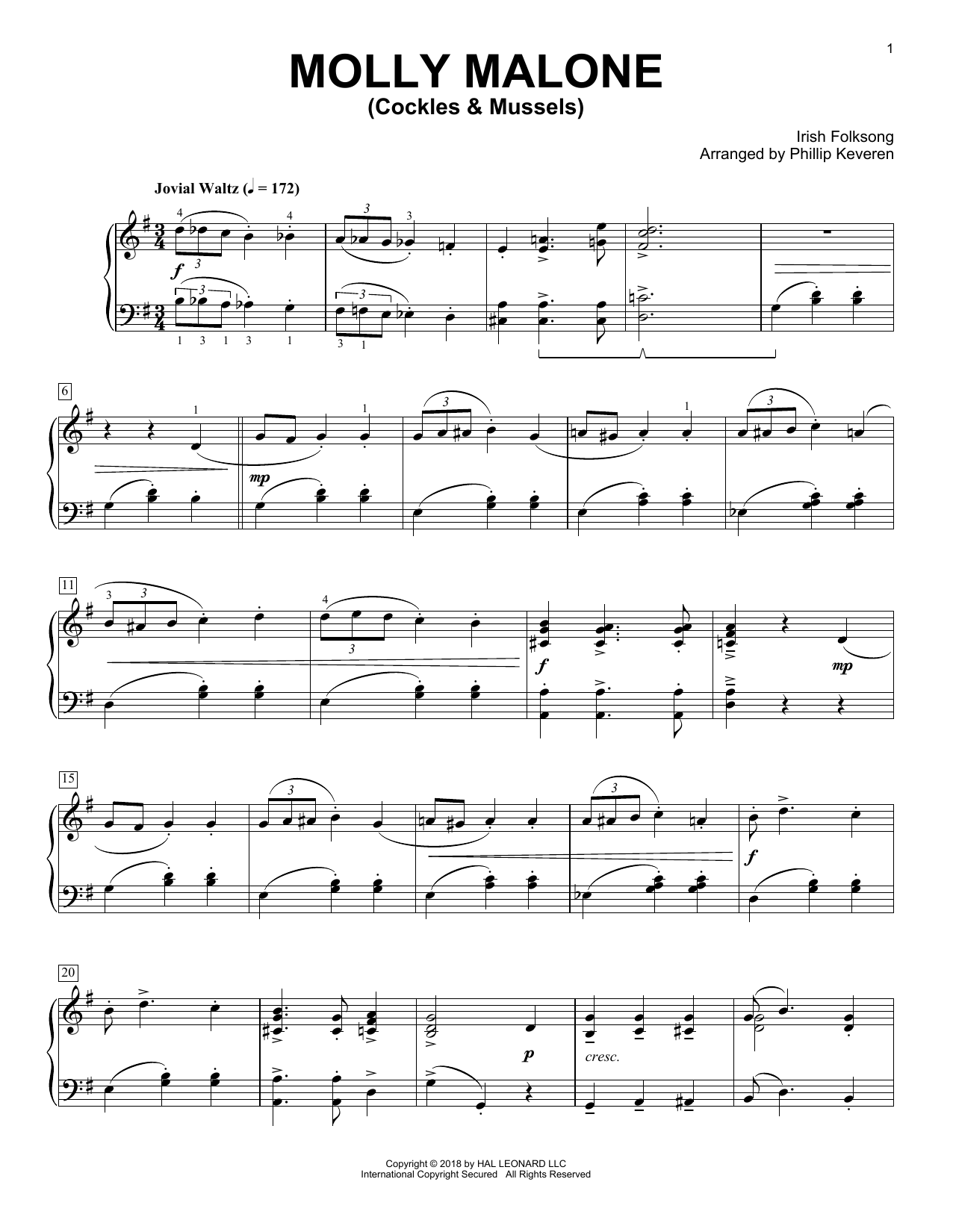 Irish Folksong Molly Malone (Cockles & Mussels) (arr. Phillip Keveren) sheet music notes and chords