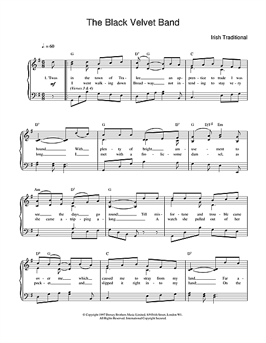 Irish Folksong The Black Velvet Band sheet music preview music notes and score for Easy Piano including 2 page(s)