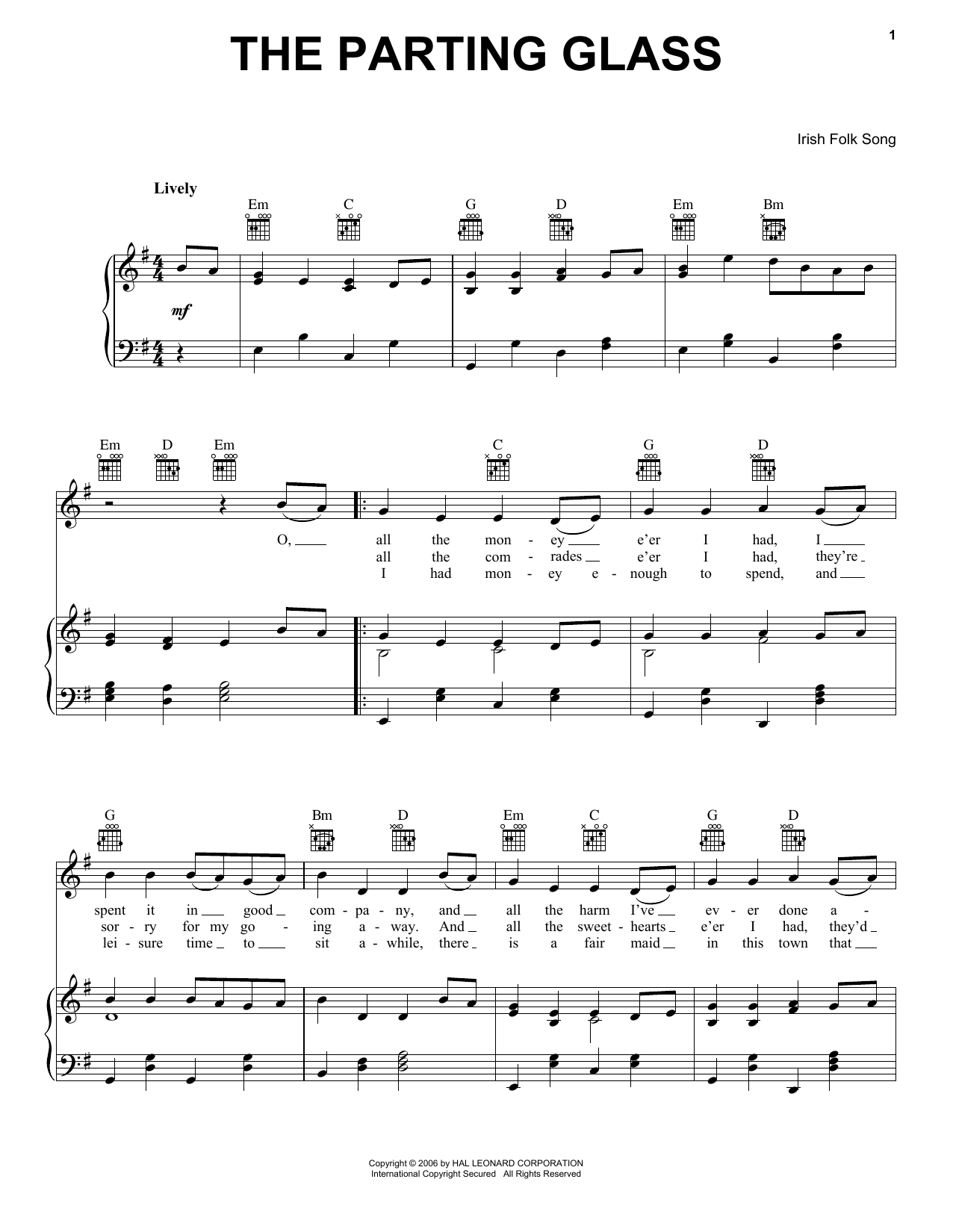 Irish Folksong The Parting Glass sheet music preview music notes and score for Easy Piano including 2 page(s)