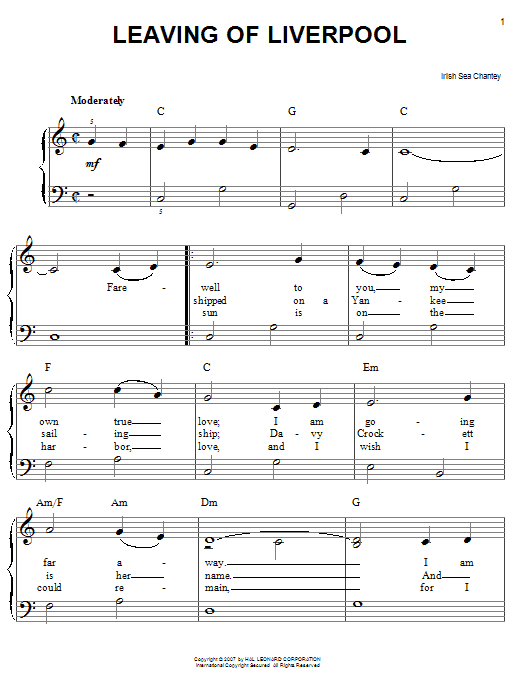 Irish Sea Shanty Leaving Of Liverpool sheet music preview music notes and score for Easy Piano including 3 page(s)