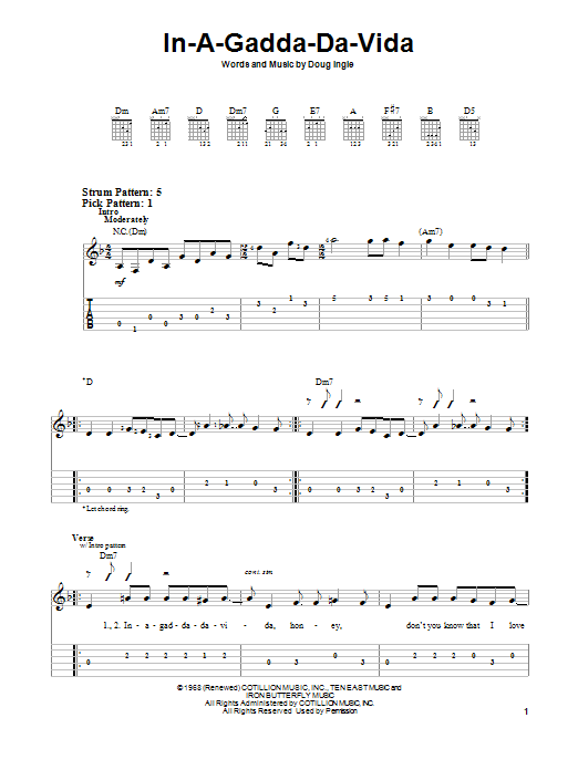 Iron Butterfly In-A-Gadda-Da-Vida sheet music preview music notes and score for Easy Guitar Tab including 3 page(s)