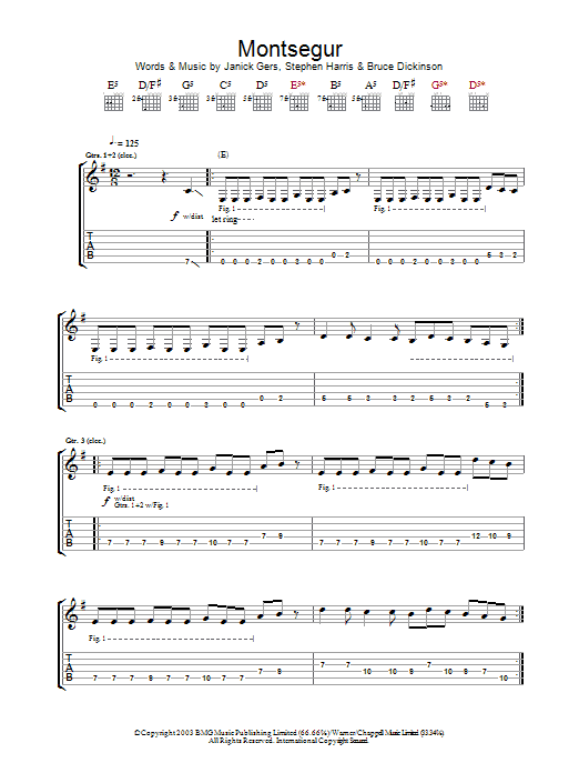 Iron Maiden Montsegur sheet music preview music notes and score for Guitar Tab including 13 page(s)