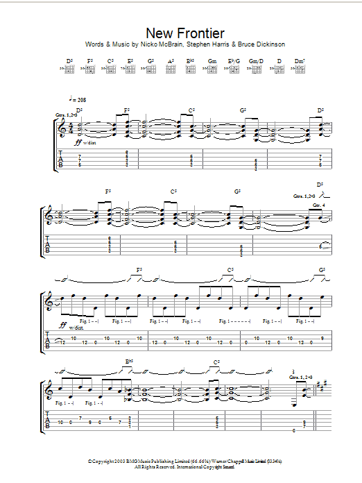 Iron Maiden New Frontier sheet music preview music notes and score for Guitar Tab including 12 page(s)