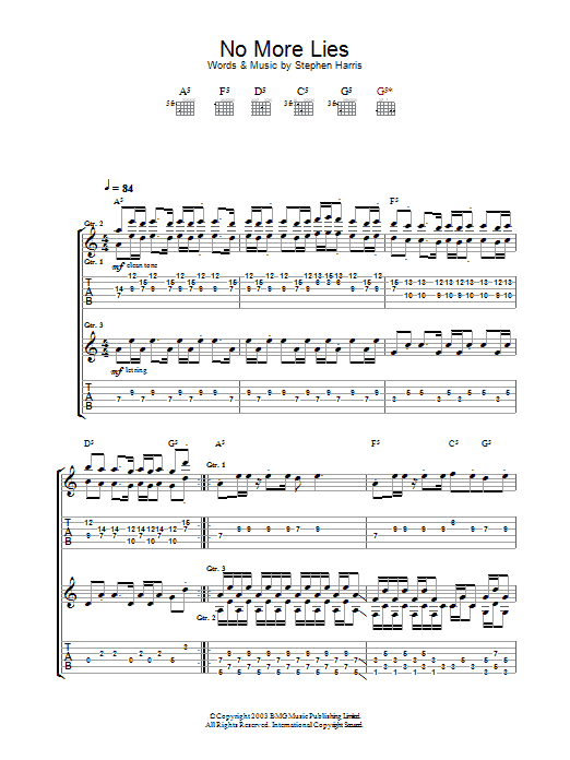 Iron Maiden No More Lies sheet music preview music notes and score for Guitar Tab including 18 page(s)