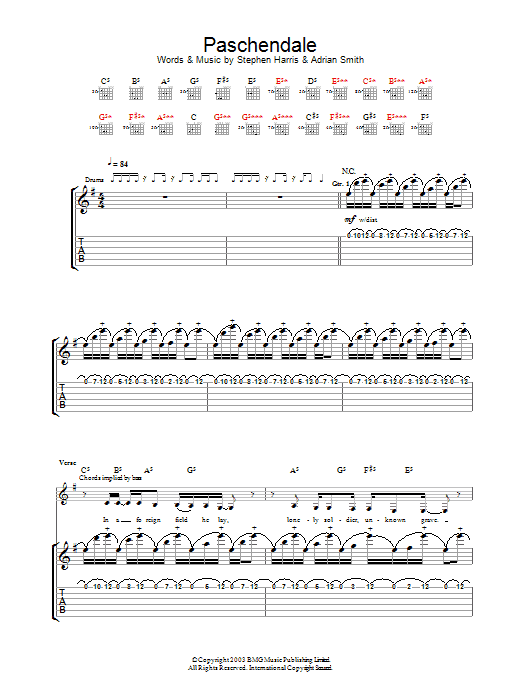 Iron Maiden Paschendale sheet music preview music notes and score for Guitar Tab including 16 page(s)