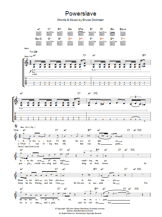 Iron Maiden Powerslave sheet music preview music notes and score for Guitar Tab including 10 page(s)