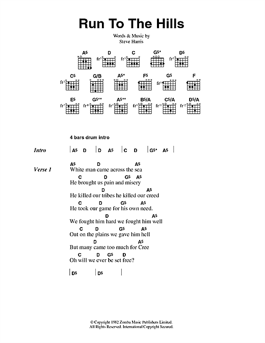 Iron Maiden Run To The Hills sheet music preview music notes and score for Easy Guitar Tab including 4 page(s)