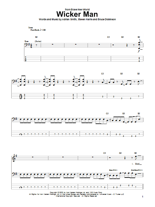 Iron Maiden The Wicker Man sheet music notes and chords