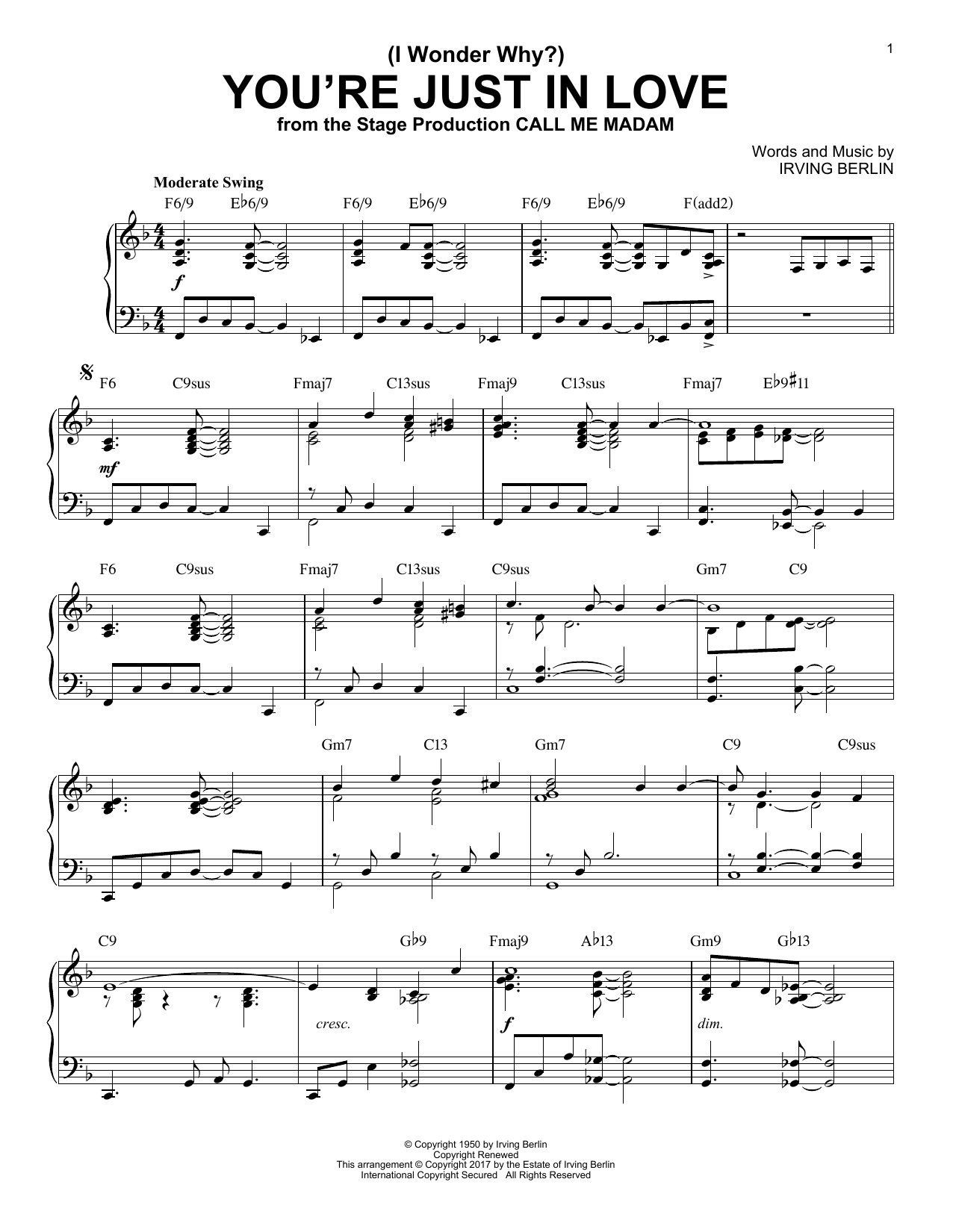 Download Irving Berlin '(I Wonder Why?) You're Just In Love' Digital Sheet Music Notes & Chords and start playing in minutes
