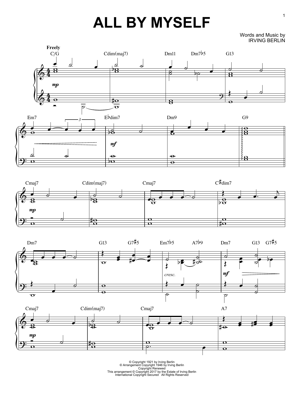 Download Irving Berlin 'All By Myself' Digital Sheet Music Notes & Chords and start playing in minutes