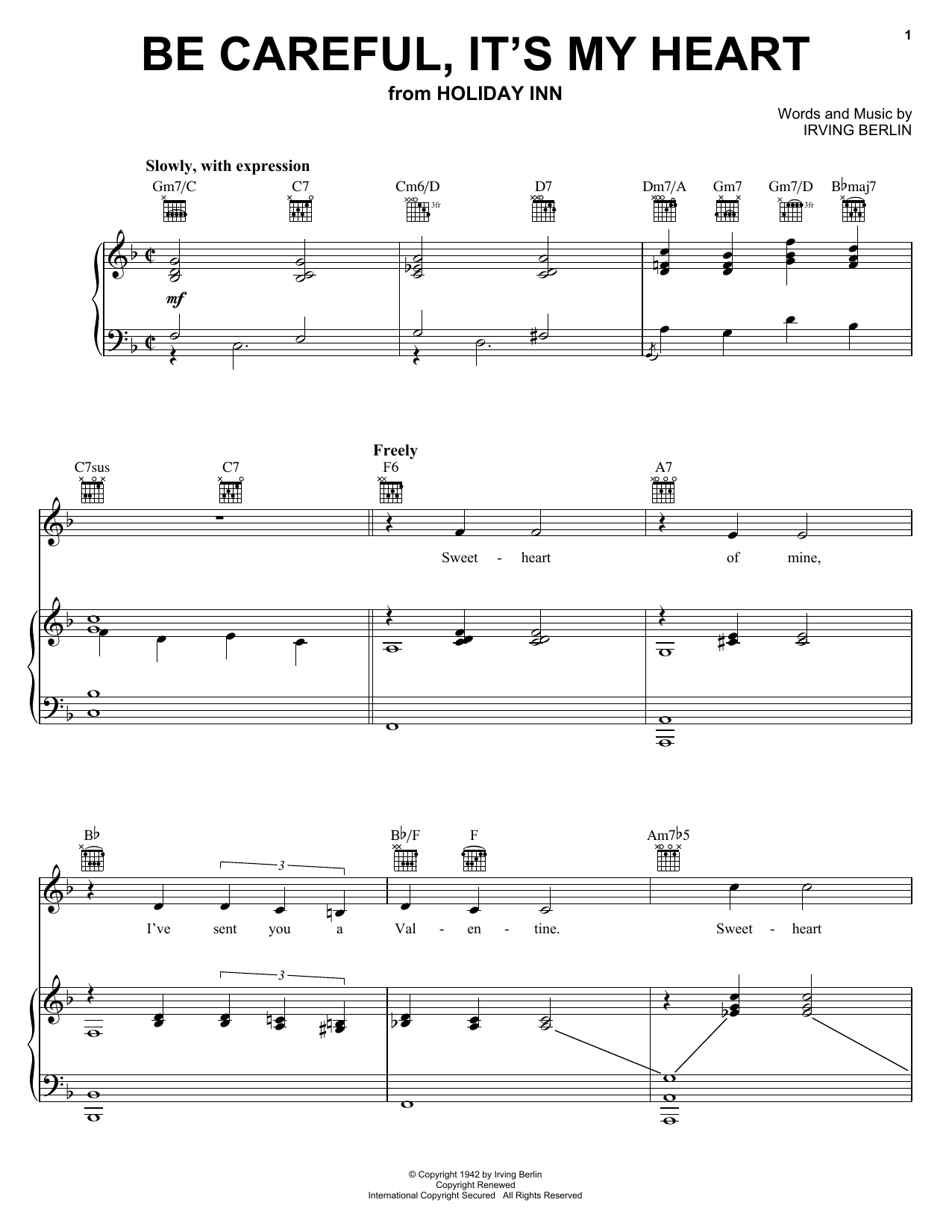 Irving Berlin Be Careful, It's My Heart sheet music preview music notes and score for Piano, Vocal & Guitar (Right-Hand Melody) including 4 page(s)