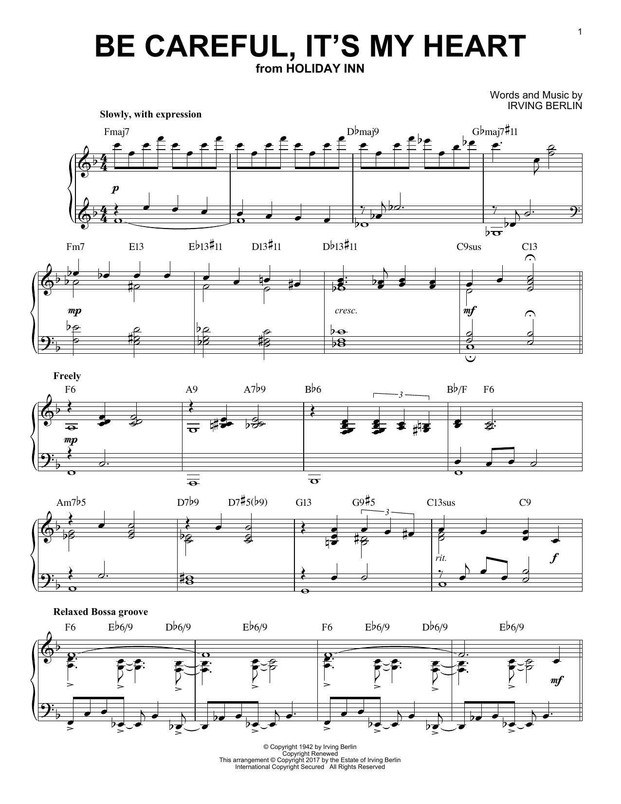 Download Irving Berlin 'Be Careful, It's My Heart' Digital Sheet Music Notes & Chords and start playing in minutes