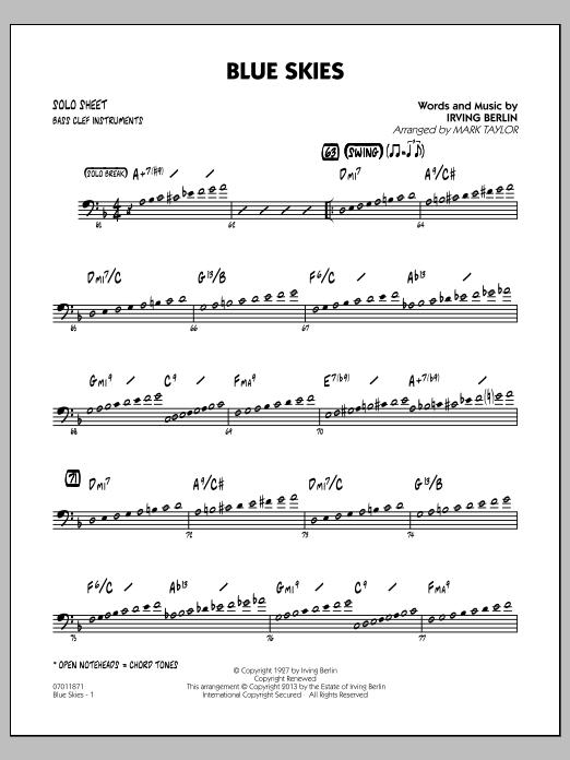 Irving Berlin Blue Skies - Bass Clef Solo Sheet sheet music notes and chords
