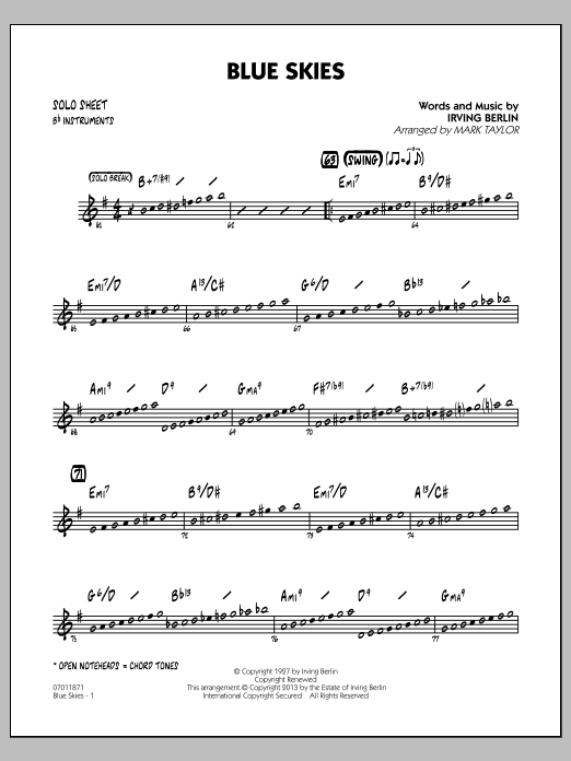 Irving Berlin Blue Skies - Bb Solo Sheet sheet music notes and chords