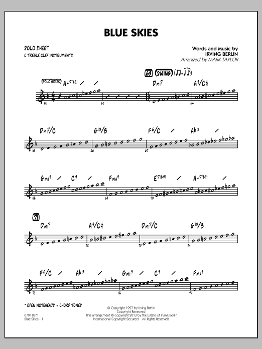 Irving Berlin Blue Skies - C Solo Sheet sheet music notes and chords