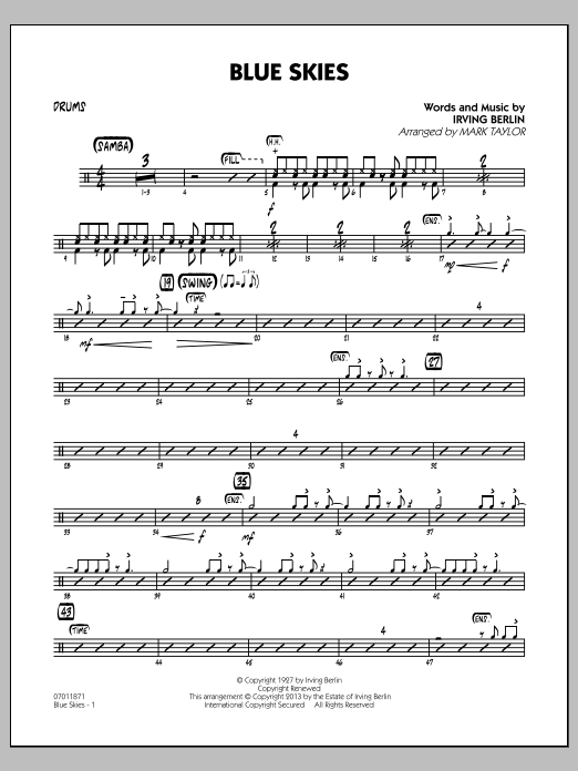 Irving Berlin Blue Skies - Drums sheet music notes and chords