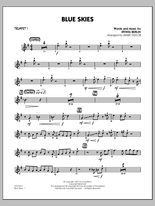 Irving Berlin Blue Skies - Trumpet 1 sheet music notes and chords