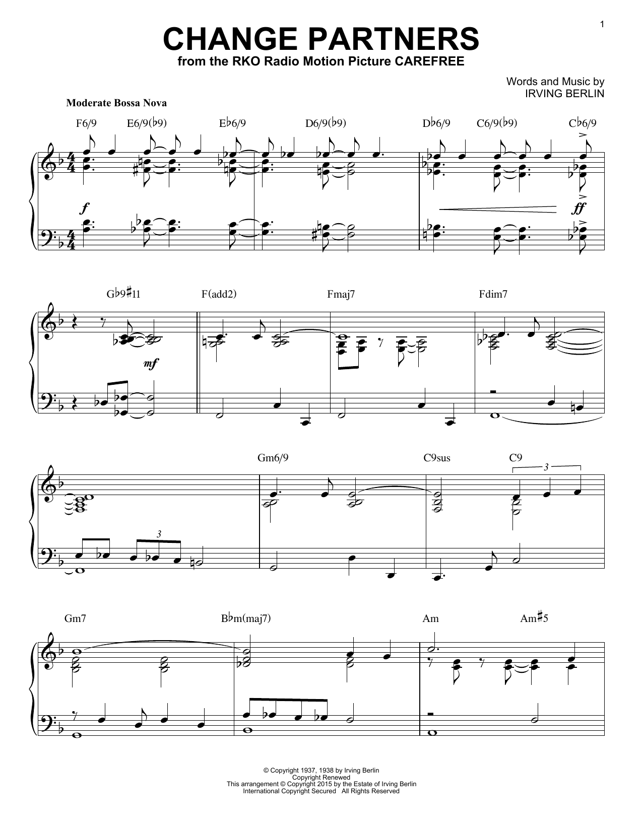 Download Irving Berlin 'Change Partners' Digital Sheet Music Notes & Chords and start playing in minutes