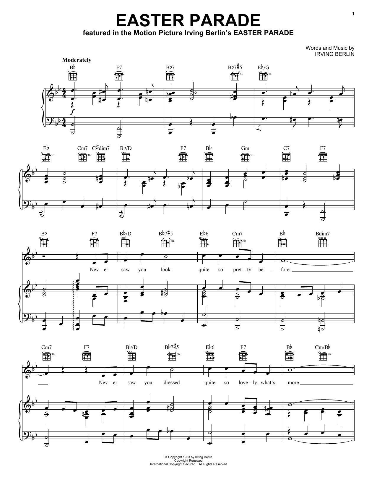 Irving Berlin Easter Parade sheet music preview music notes and score for Ukulele including 2 page(s)