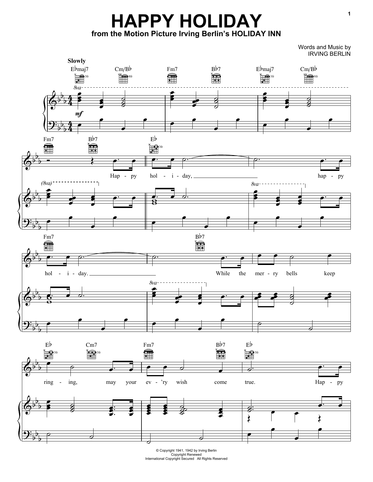 Irving Berlin Happy Holiday sheet music preview music notes and score for Guitar Tab including 2 page(s)