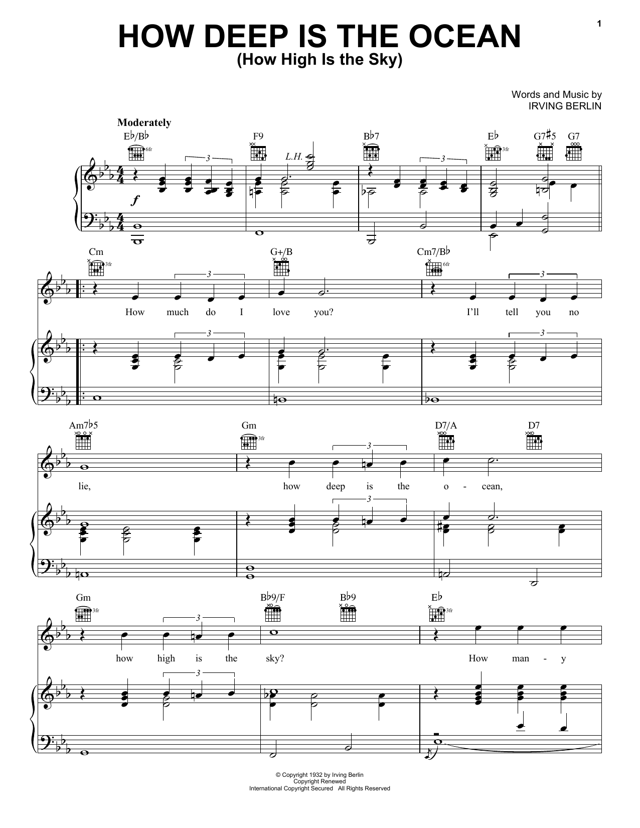 Irving Berlin How Deep Is The Ocean (How High Is The Sky) sheet music preview music notes and score for Piano, Vocal & Guitar (Right-Hand Melody) including 3 page(s)