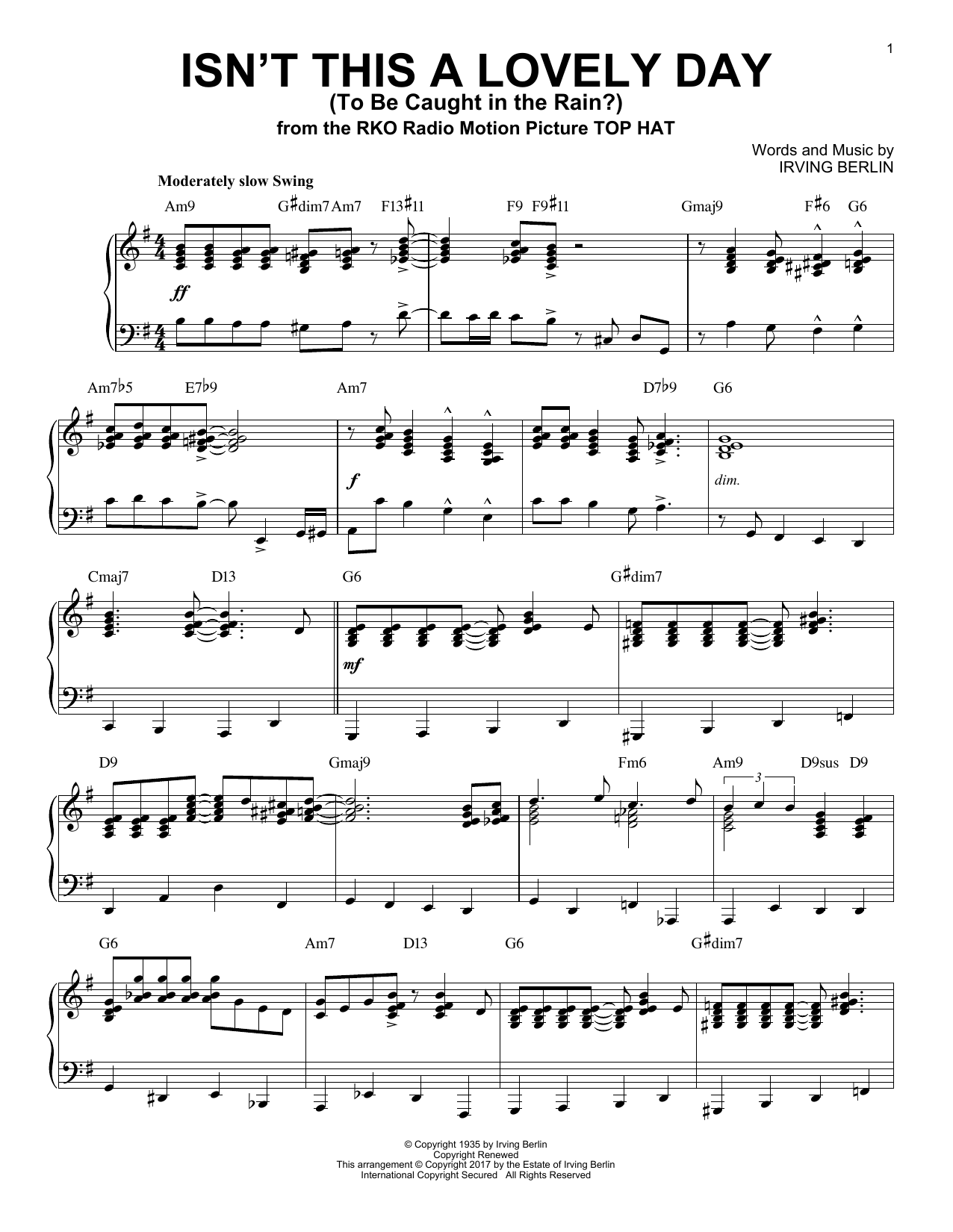 Download Irving Berlin 'Isn't This A Lovely Day (To Be Caught In The Rain?)' Digital Sheet Music Notes & Chords and start playing in minutes