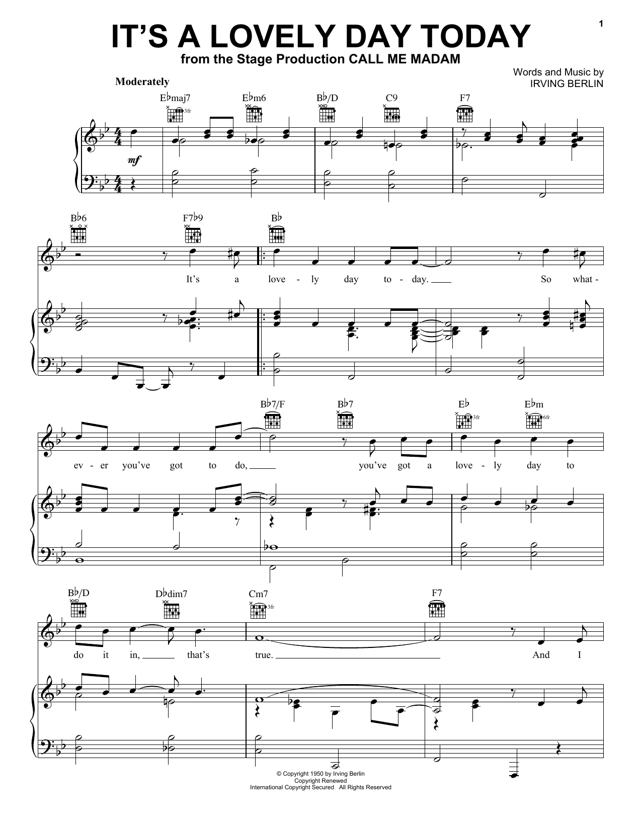 Download Irving Berlin 'It's A Lovely Day Today' Digital Sheet Music Notes & Chords and start playing in minutes