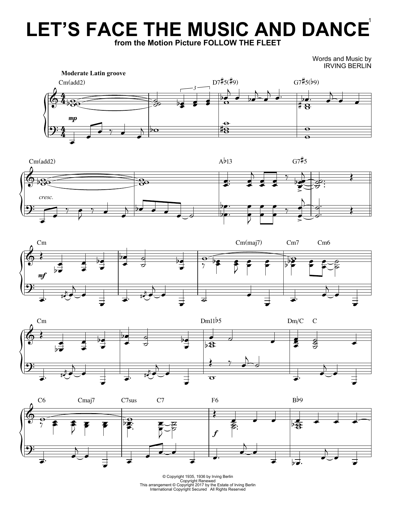 Download Irving Berlin 'Let's Face The Music And Dance' Digital Sheet Music Notes & Chords and start playing in minutes