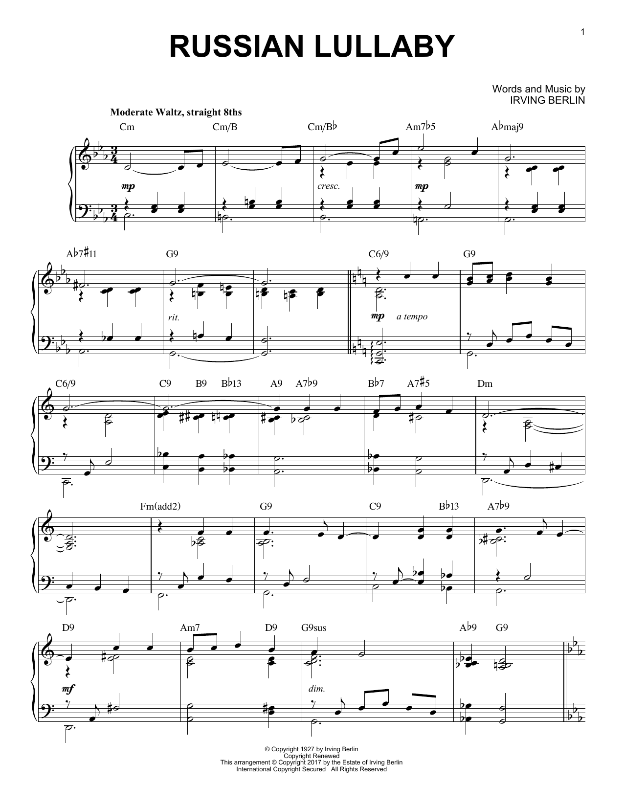 Download Irving Berlin 'Russian Lullaby' Digital Sheet Music Notes & Chords and start playing in minutes