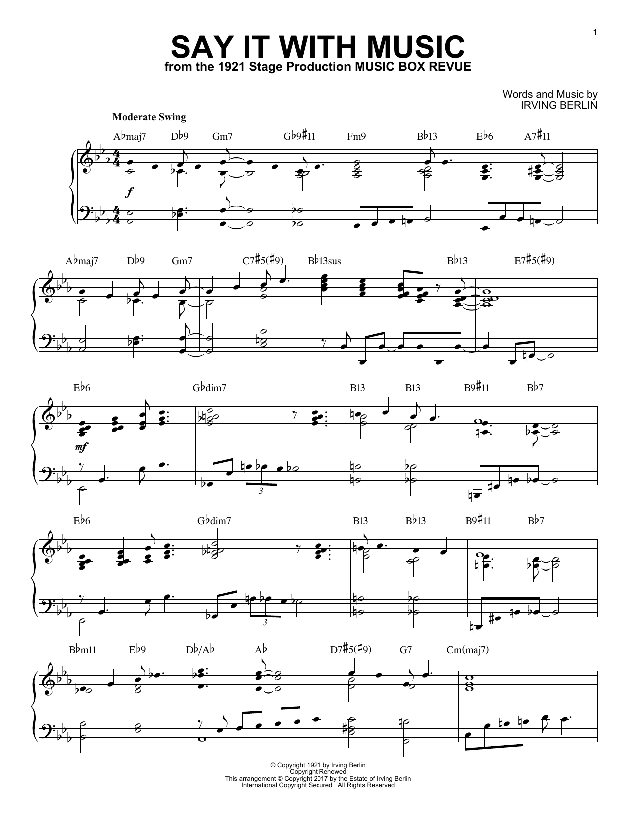 Download Irving Berlin 'Say It With Music' Digital Sheet Music Notes & Chords and start playing in minutes