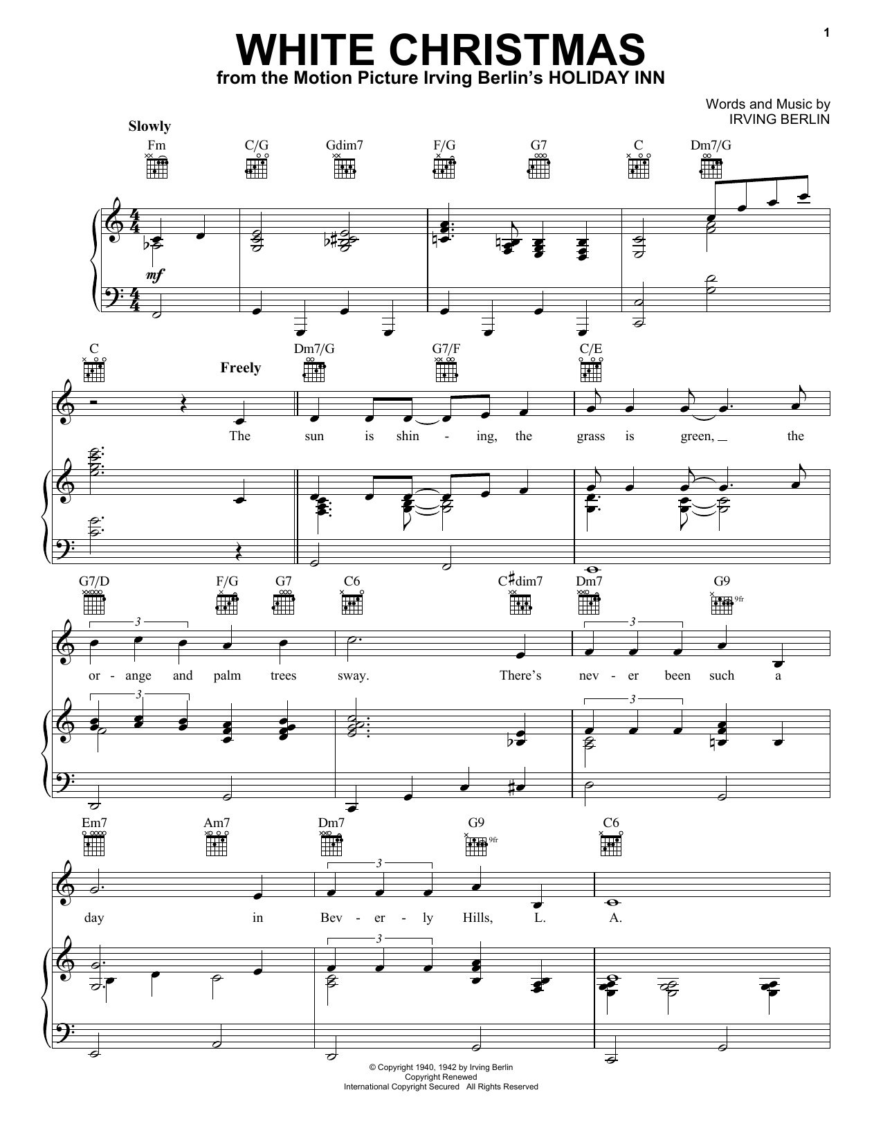 Irving Berlin White Christmas sheet music preview music notes and score for Easy Piano including 4 page(s)