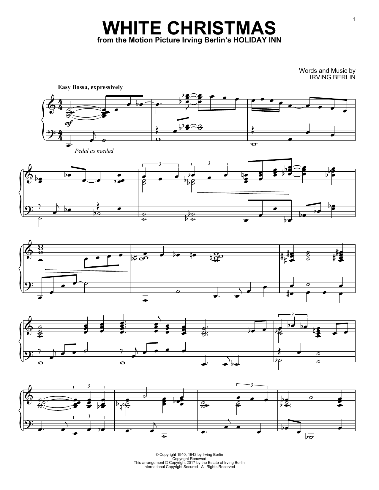 Irving Berlin White Christmas sheet music notes and chords