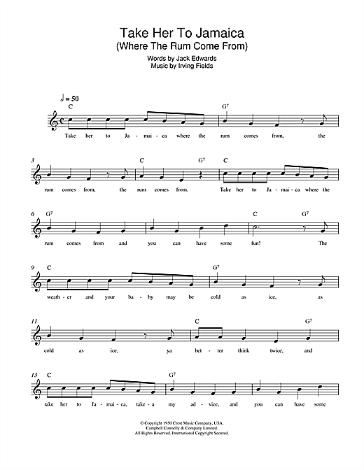 Irving Fields Take Her To Jamaica (Where The Rum Come From) sheet music notes and chords