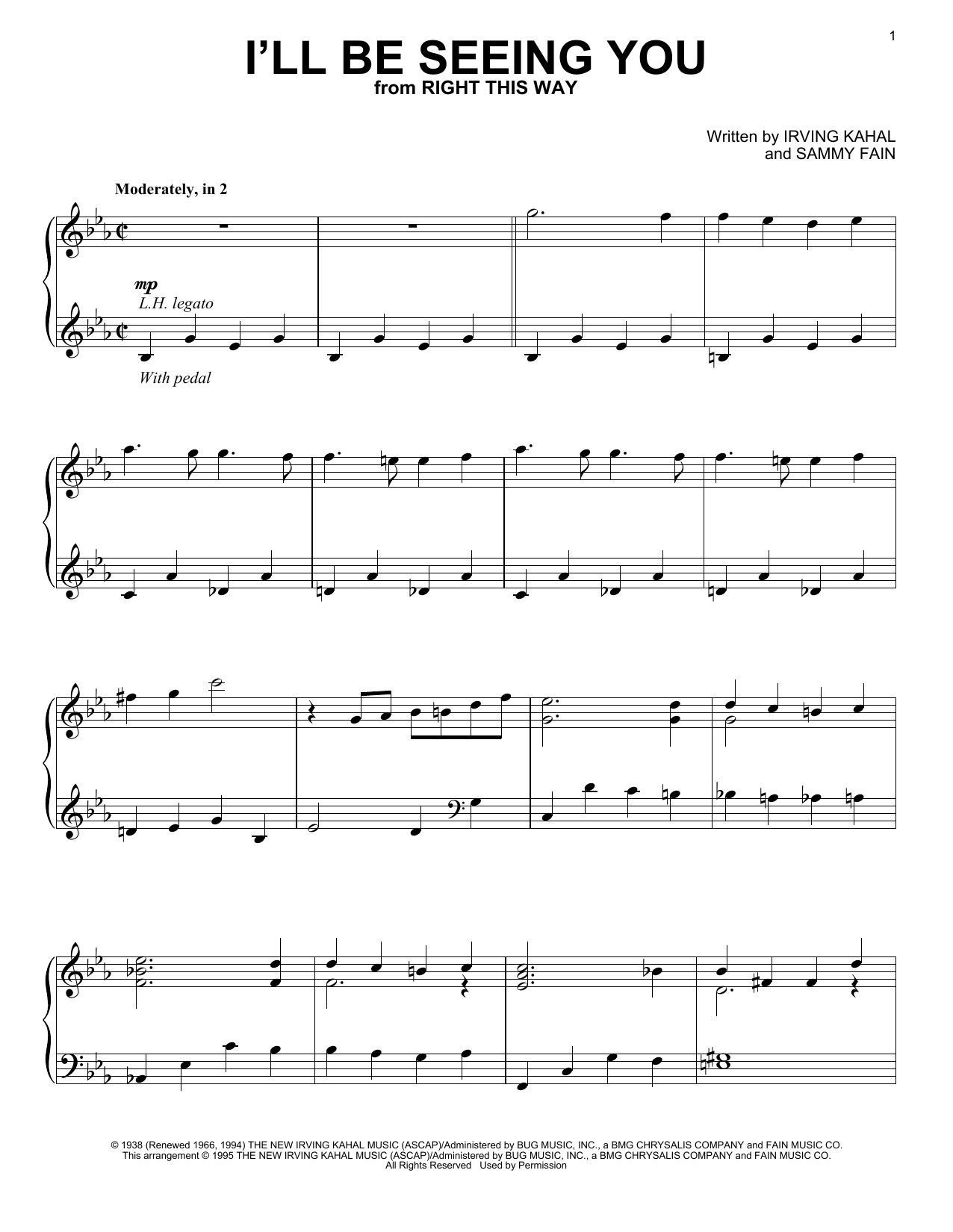 Download Sammy Fain 'I'll Be Seeing You' Digital Sheet Music Notes & Chords and start playing in minutes