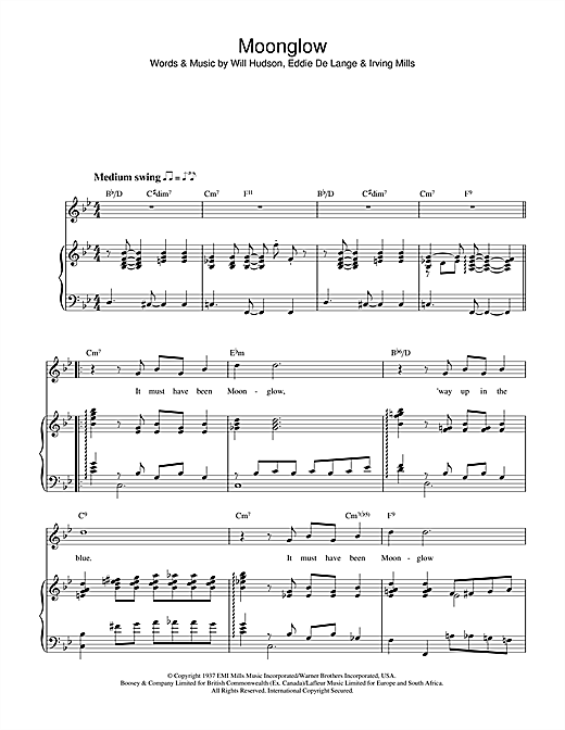 Irving Mills Moonglow sheet music notes and chords