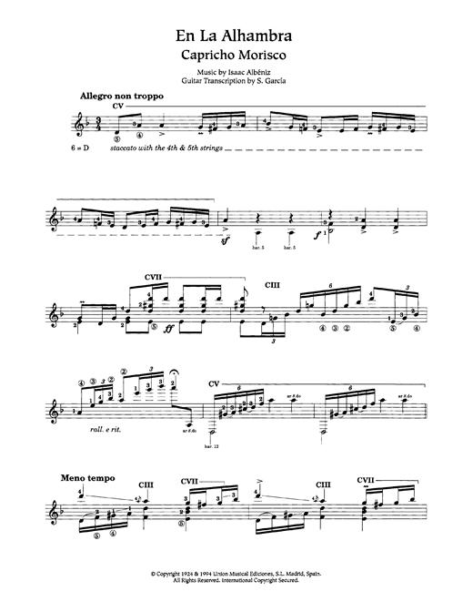 Isaac Albeniz En La Alhambra (Capricho Morisco) sheet music notes and chords