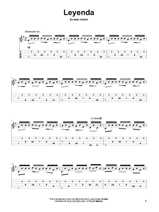Isaac Albeniz Leyenda (Asturias) sheet music preview music notes and score for Guitar Tab including 2 page(s)