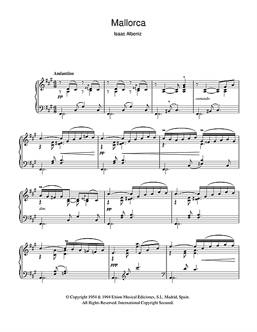 Download Isaac Albeniz 'Mallorca' Digital Sheet Music Notes & Chords and start playing in minutes