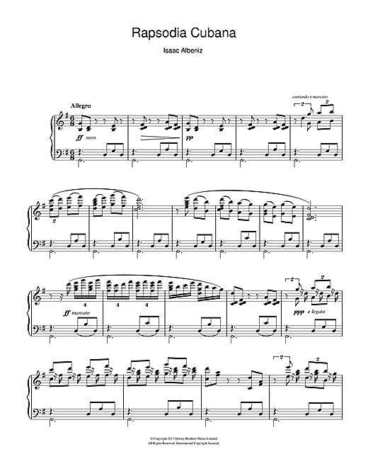 Download Isaac Albeniz 'Rapsodia Cubana' Digital Sheet Music Notes & Chords and start playing in minutes