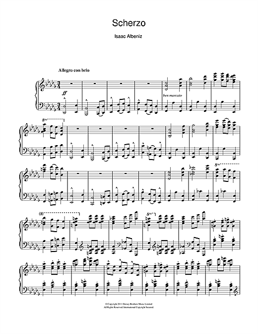 Download Isaac Albeniz 'Scherzo' Digital Sheet Music Notes & Chords and start playing in minutes
