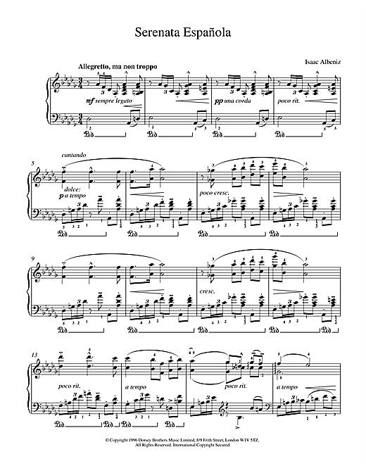 Isaac Albeniz Serenata Espanola sheet music notes and chords