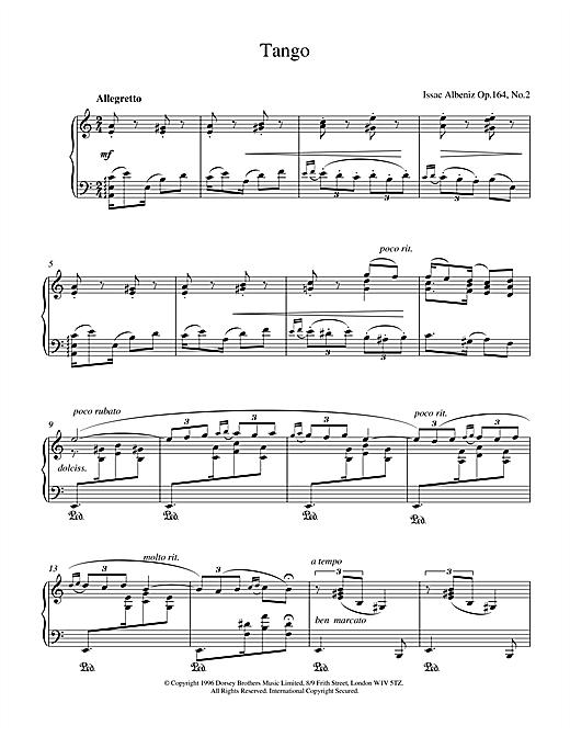 Isaac Albeniz Tango Op.164 No.2 sheet music notes and chords