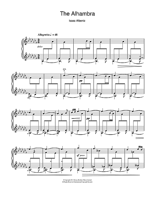 Download Isaac Albeniz 'The Alhambra' Digital Sheet Music Notes & Chords and start playing in minutes