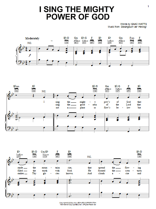 Isaac Watts I Sing The Mighty Power Of God sheet music notes and chords