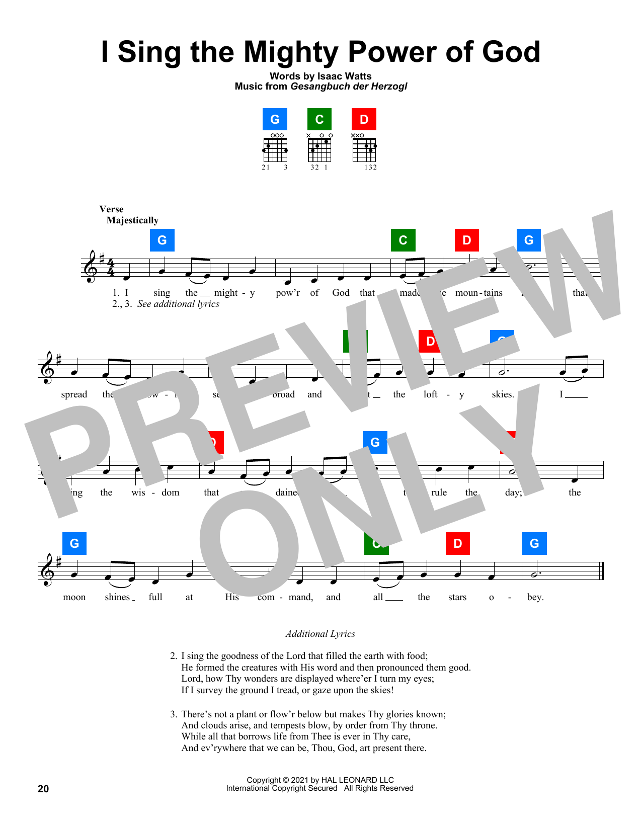 Isaac Watts I Sing The Mighty Power Of God sheet music preview music notes and score for Easy Piano including 2 page(s)
