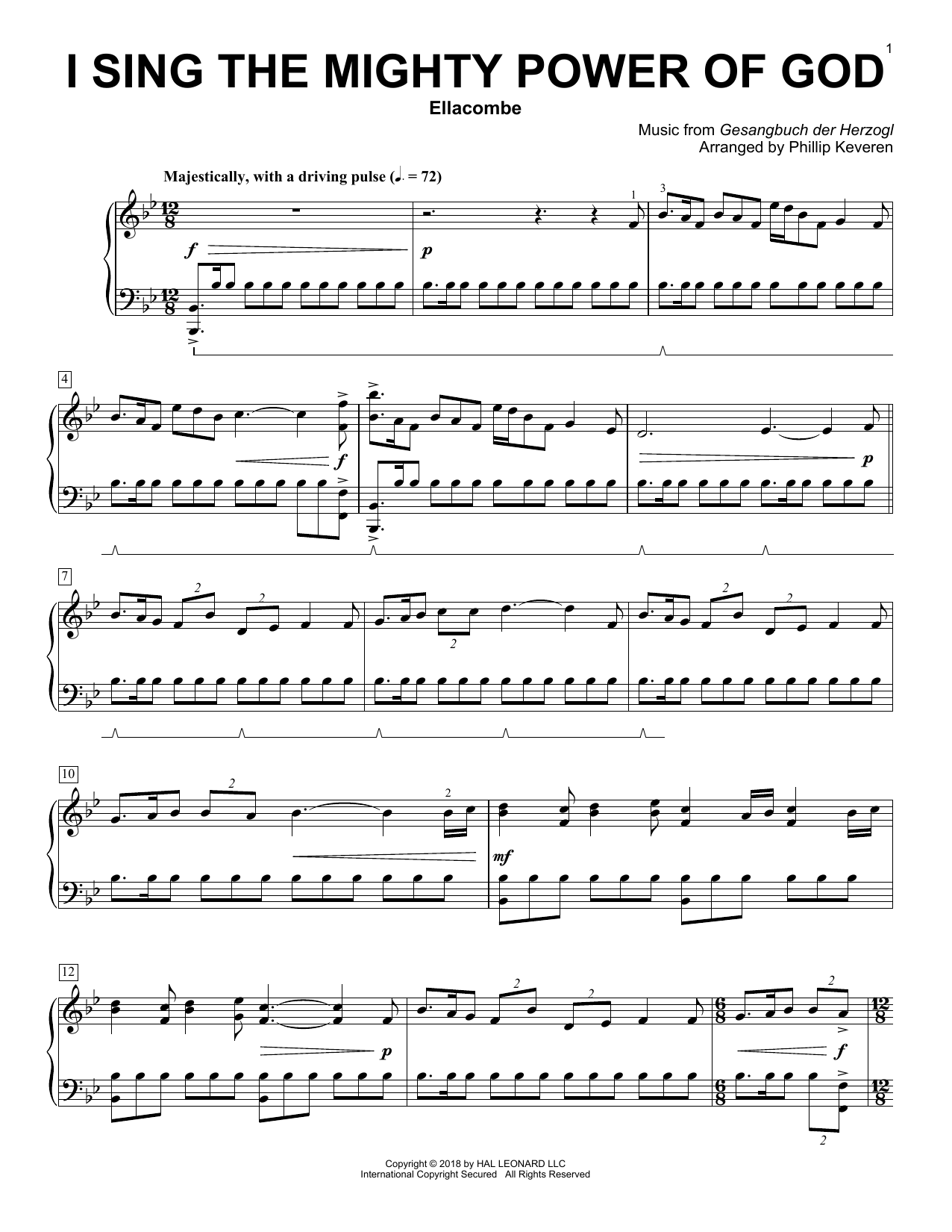Download Isaac Watts 'I Sing The Mighty Power Of God (arr. Phillip Keveren)' Digital Sheet Music Notes & Chords and start playing in minutes