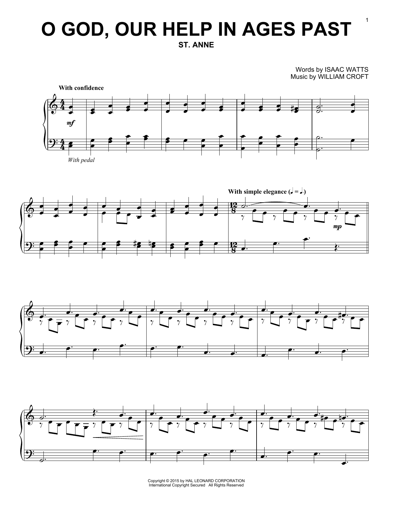 Download William Croft 'O God, Our Help In Ages Past' Digital Sheet Music Notes & Chords and start playing in minutes